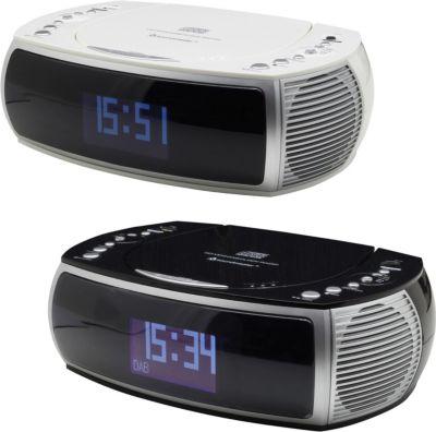 Soundmaster URD470 DAB+ Uhrenradio mit CD/MP3 und USB, in schwarz oder weiß Farbe: weiß