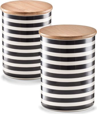 Zeller Vorratsdose m. Bamboodeckel Stripes, Keramik, verschiedene Größen Größe: 580 ml