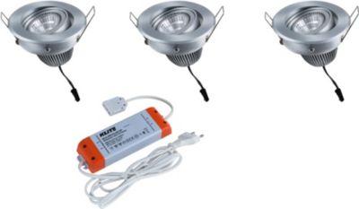 Aluminium LED Einbaustrahler 3er Set NEVADA