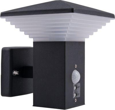 Moderne LED Edelstahl Außenleuchte SHANGHAI schwarz mit Bewegungsmelder Wandleuchte