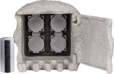 4-fach Steinsteckdose Energieverteiler STEIN Funk mit Fernbedienung