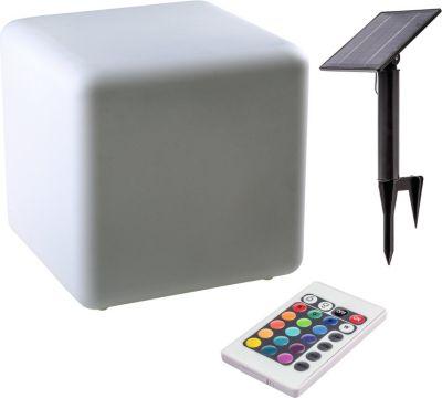 Solar LED Leuchte CUBITO Würfel mit Farbwechsel beleuchtet Leuchtwürfel Sitzwürfel