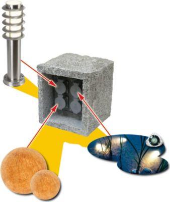 Echtstein 4-fach Energieverteiler Funk KUBUS Granit mit Fernbedienung Gartensteckdose