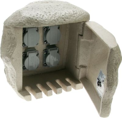 Heitronic 4fach Steinsteckdose für Direktanschluss an Erdkabel