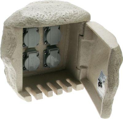 Heitronic 4-fach Steinsteckdose Gartensteckdose Stein für Direktanschluss an Erdkabel