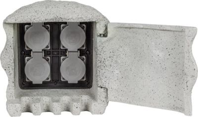 Heitronic Steinsteckdose Energieverteiler PIEDRA Steinform 4-fach mit Direktanschluss Erdkabel