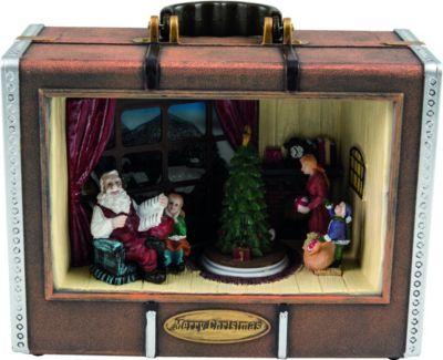Heitronic LED Koffer mit Musik drehender Baum Weihnachtskoffer Weihnachsszene Weihnachtsbaum