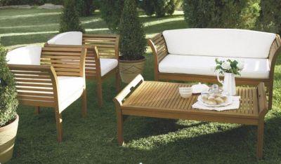 Loungegruppe Gartenmöbel Eukalyptus Holz