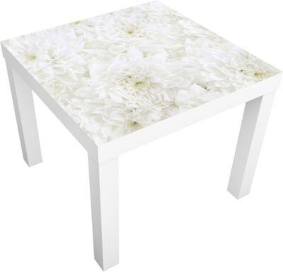 Beistelltisch - Dahlien Blumenmeer weiß -... sc...
