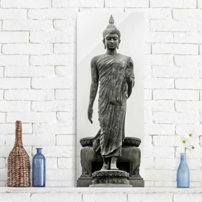 glasbild-buddha-statue-panorama-hoch