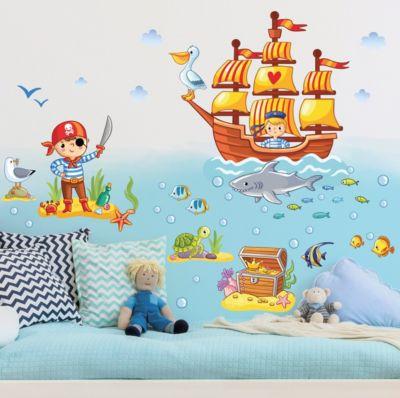 Wandtattoo Kinderzimmer Piraten Set 40x60-15.00