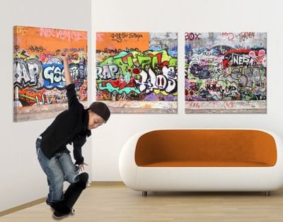 Leinwandbild Graffiti Triptychon I