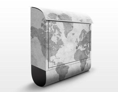 Design Briefkasten Vintage Weltkarte II - Briefkasten Grau