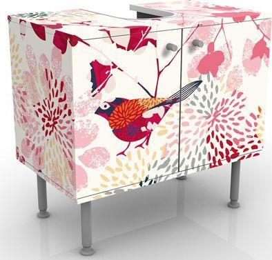 Waschbeckenunterschrank - Fancy Birds - Blumen ...
