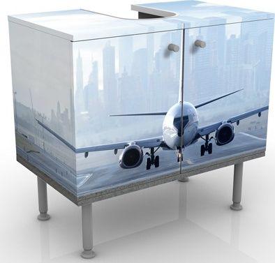 Waschbeckenunterschrank - Flugzeug vor dem Star...