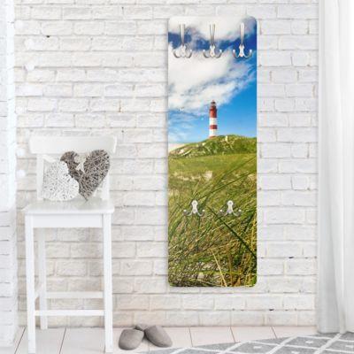 Wandgarderobe - Dune Breeze Leuchtturm - Garderobe Maritim - Garderobenhaken Edelstahl