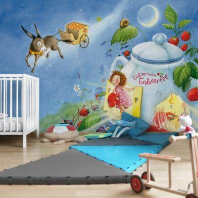 Fototapete erdbeerinchen erdbeerfee im garten fenster for Fensterdekoration kinderzimmer