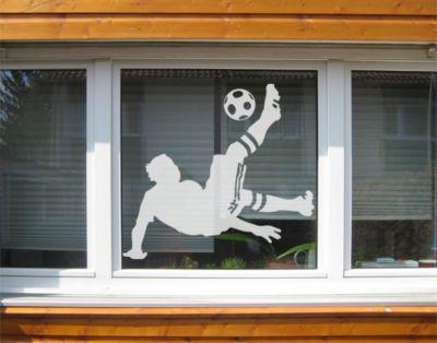 Fensterfolie - Fenstertattoo No.UL6 Fussball - Fallrückzieher - Milchglasfolie