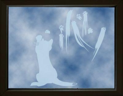 Fensterfolie - Fenstertattoo No.UL633 Katzenkunst - Milchglasfolie
