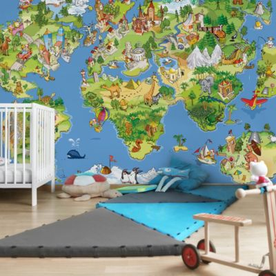 Vliestapete - Great and funny Worldmap - Fototapete Breit