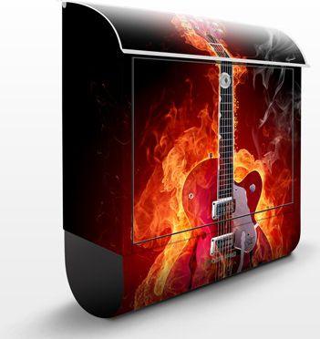 Wandbriefkasten - Gitarre in Flammen - Briefkasten Schwarz