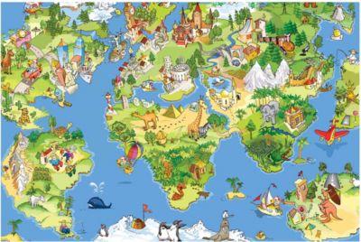 Kindertapeten - Vliestapeten - Great And Funny Worldmap - Fototapete Breit