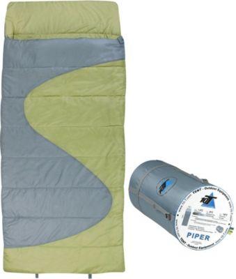 10 T Outdoor Equipment 10T Piper - XXL Decken-Schlafsack bis -16°C mit Kopfkissen Kapuze, 220x100 cm, 1600g leicht, 3 Jahreszeiten, Camping & Trekking