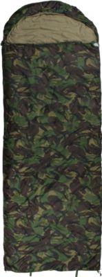 10 T Outdoor Equipment 10T Huntington - Einzel Decken-Schlafsack mit Halbmond-Kopfteil 220x80cm Camouflage 1700g bis -23°C