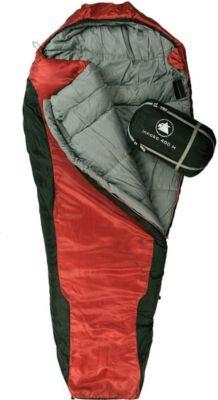10 T Outdoor Equipment 10T Innoko 400M - Einzel Mumien-Schlafsack 200x85/55cm schwarz/rot Winterschlafsack bis -21°C