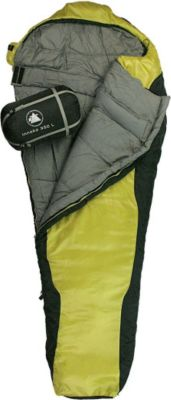 10 T Outdoor Equipment 10T Innoko 350L - Einzel Mumien-Schlafsack 215x85/55cm schwarz/gelb Winterschlafsack bis -21°C