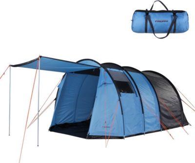 Camping-Zelt TXB 400 Tunnelzelt mit Schlafkabine für 4 Personen Outdoor Familienzelt mit Wohnraum, Belüftung, Stehhöhe, wasserdicht mit 3000mm Wassersäule