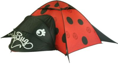 10 T Outdoor Equipment 10T LadyBug - 2-Personen Pop-Up Motiv-Zelt Marienkäfer mit separatem Stauraum WS=3000mm