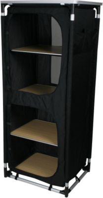 10 T Outdoor Equipment 10T Cambox Quattro Alu Campingschrank 59x48x140 cm Faltschrank mit Ablage-Platte Aluminium Zelt-Schrank mit 4 Fächern mobile Camping-Küche verschließb