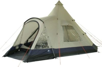 10 T Outdoor Equipment 10T Camping-Zelt Apache 600 Tipi mit XXL Schlafbereich für 6 - 12 Personen Outdoor Idianerzelt Familienzelt mit Wohnraum, eingenähte Bodenwanne, wasse