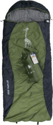 10 T Outdoor Equipment 10T Giraffe 300 - Kinder Decken-Schlafsack mit Halbmond-Kopfteil 180x75cm blau/grün Motivdruck bis +10°C