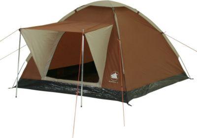 10T Camping-Zelt Brownville 3 Kuppelzelt mit Schlafbereich für 3 Personen Outdoor Familienzelt mit Sonnendach Auftsellstangen, Dauerbelüftung, wasserdicht mit 3000mm Wassersäule