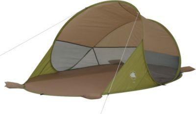 10 T Outdoor Equipment 10T Jana - Pop-Up Strandmuschel 245x145x95cm grün/beige Mesh-Sonnenschutz mit Bodenplane