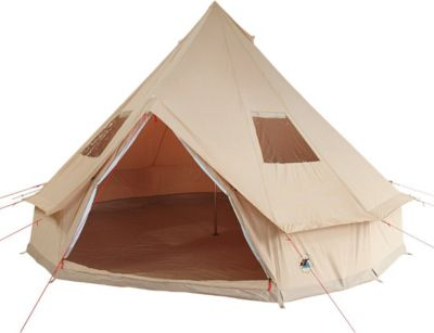 10 T Outdoor Equipment 10T Camping-Zelt Desert 8 Tipi mit XXL Schlafbereich für 4 - 8 Personen Outdoor Familienzelt aus Baumwolle (Mischgewebe 35/65), Pyramidenzelt Idianerz