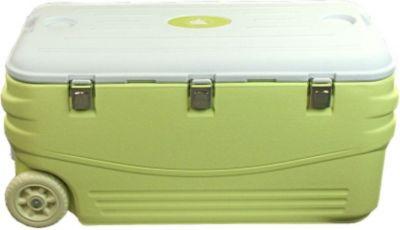 10T Fridgo 100 - Kühlbox passiv 100 Liter mit Rädern und Tragegriffen Bodenablauf lemon 89x43x43cm