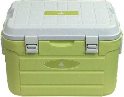 10T Fridgo 30L passive Kühlbox Kühlbehälter 52x36x33cm PU Thermobox mit Sicherheits Verschluß Tragegriffen Boden Abfluss warm / kalt Isolierbox inkl. Kühlakku