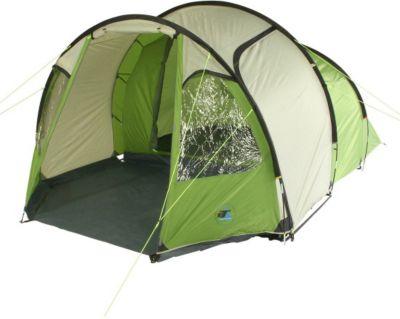 10 T Outdoor Equipment 10T Camping-Zelt Mandiga 4 Tunnelzelt mit Schlafkabine für 4 Personen Outdoor Familienzelt mit Wohnraum, Dauerbelüftung, Bodenplane, wasserdicht mit 5