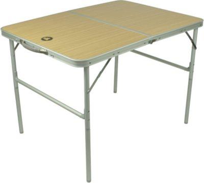 10T Portable Double Alu Campingtisch 98x70cm Klappkoffertisch mit stabiler MDF Platte bis 40kg belastbar Gartentisch Beistelltisch Picknick Falttisch mit Tragegriff und Klappsicherung