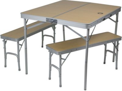 10 T Outdoor Equipment 10T Portable Bench - Mobiles Tisch-Bank-Set 4 Personen Aluminium Koffermaß 90x42x10cm
