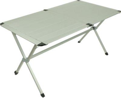 10 T Outdoor Equipment 10T AluTab Campingtisch 140x80cm für 4 - 6 Personen Roll-Up Reise-Tisch mit Aluminium Tischplatte robuster Gartentisch mit Packsack Klapptisch für Cam