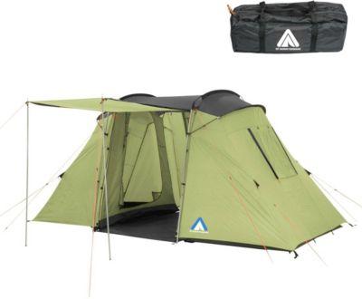 10 T Outdoor Equipment 10T Camping-Zelt Delano 4 Vis-A-Vis Tunnelzelt mit Schlafkabinen für 4 Personen Outdoor Familienzelt mit Wohnraum, Sonnendach Aufstellstangen, wasserd