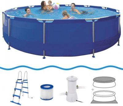 Sirocco Swimming Pool Set Ø 450x90 Cm Mit Becken Pumpe Leiter Abdeckplane  Bodenplane, Stahlrohr Schwimmbecken