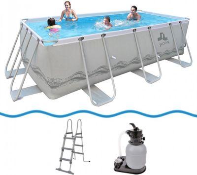 Passaat Swimming Pool Set+ 400x200x99 cm mit rechteck Becken Sandfilterpumpe Leiter, Stahlrohr Schwimmbecken Stahlrahmen Schwimmbad Familienpool für Garten und Terasse