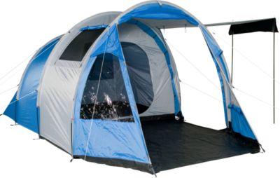 Camping-Zelt TSB 400 Tunnelzelt mit Schlafkabine für 4 Personen Outdoor Familienzelt mit Wohnraum, Belüftung, Stehhöhe, wasserdicht mit 3000mm Wassersäule