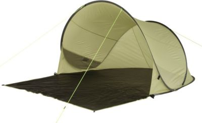 10 T Outdoor Equipment 10T Trinidad UV 50+ - Pop-Up Strandmuschel 220x180x110cm Wind- & Sonnenschutz mit Bodenplane