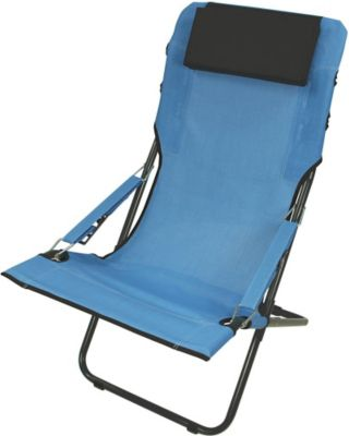 Fridani RCB 100 XXL Campingstuhl mit Armlehnen Gartenstuhl mit Kopfpolster Klappstuhl mit 4-fach verstellbarer Rückenlehne Sonnenliege mit luftdurchlässigem Sitz-Bezug, extrem bequem